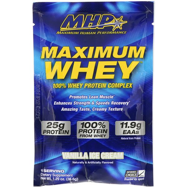 MHP, Maximum Whey, Vanilla Ice Cream, 1.29 oz (36.6 g) (Discontinued Item)