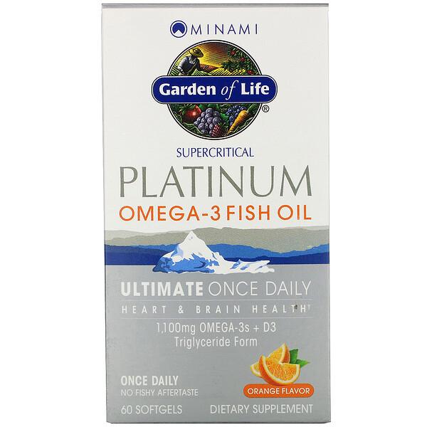 Platinum, рыбий жир Омега-3 со вкусом апельсина, 60 мягких желатиновых капсул