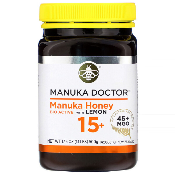 Manuka Honey Bio Active with Lemon 15+, MGO 45+, 17.6 oz (500 g)