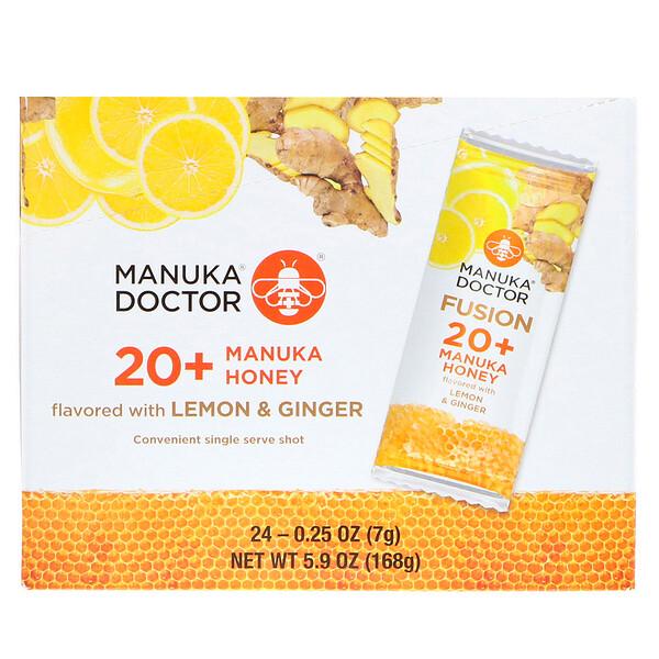 Fusion 20+, мед манука, со вкусом лимона и имбиря, 24саше по 7г (0,25унции)