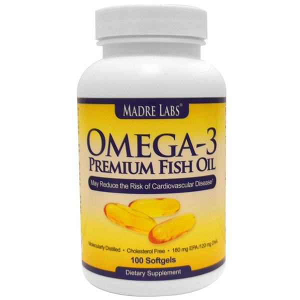 Madre Labs, Омега-3 премиум рыбий жир, 180 мг ЭПК/120 мг ДГК, 100 мягких желатиновых капсул (Discontinued Item)