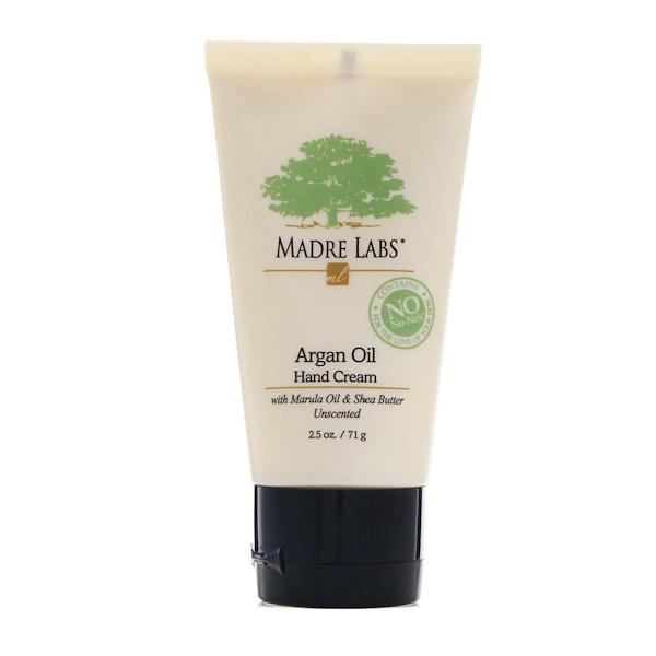 Madre Labs, Крем для рук с аргановым маслом, с добавлением марулового и кокосового масел и масла ши, успокаивающий и без запаха, 2,5унции (71г) (Discontinued Item)