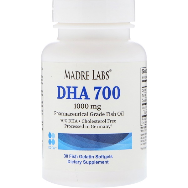 Madre Labs, ДГК 700, рыбий жир фармацевтического класса, 1000мг, 30мягких капсул из рыбного желатина (Discontinued Item)