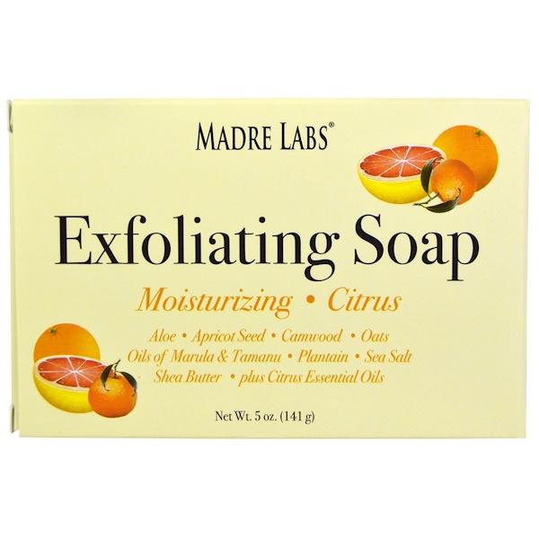 Madre Labs, Кусковое мыло для отшелушивания с маслами марулы и таману и маслом ши, цитрус, 5 унций (141 г) (Discontinued Item)