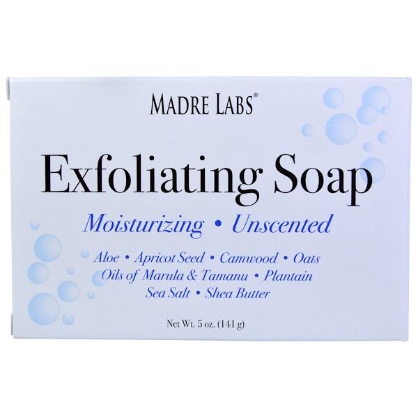 Madre Labs, Кусковое мыло для отшелушивания с маслами марулы и таману и маслом ши, без запаха, 5 унций (141 г) (Discontinued Item)