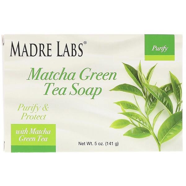 Madre Labs, Кусковое мыло с зеленым чаем маття, с розмарином, марулой и арганом, 5 унций (141 г)