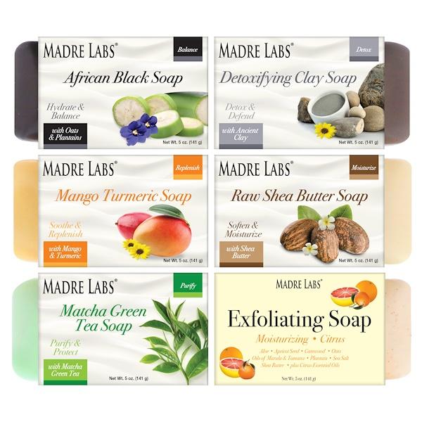 Madre Labs, Очищающее кусковое мыло, набор с 6 разными ароматами, 6 кусков, по 5 унций (141 г) каждый (Discontinued Item)