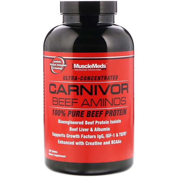 MuscleMeds, Аминокислоты Carnivor Beef, 100% чистый говяжий протеин, 300 таблеток (Discontinued Item)
