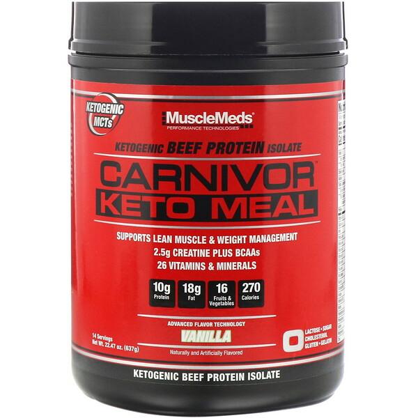 MuscleMeds, Carnivor, KetoMeal, кетогенный изолят говяжьего белка, ваниль, 637г (22,47унции) (Discontinued Item)