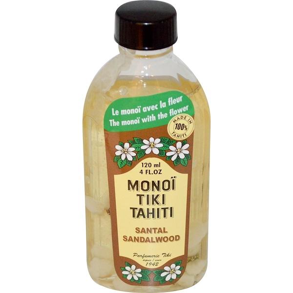 Monoi Tiki Tahiti, Сандаловое дерево, 4 жидких унции (120 мл)