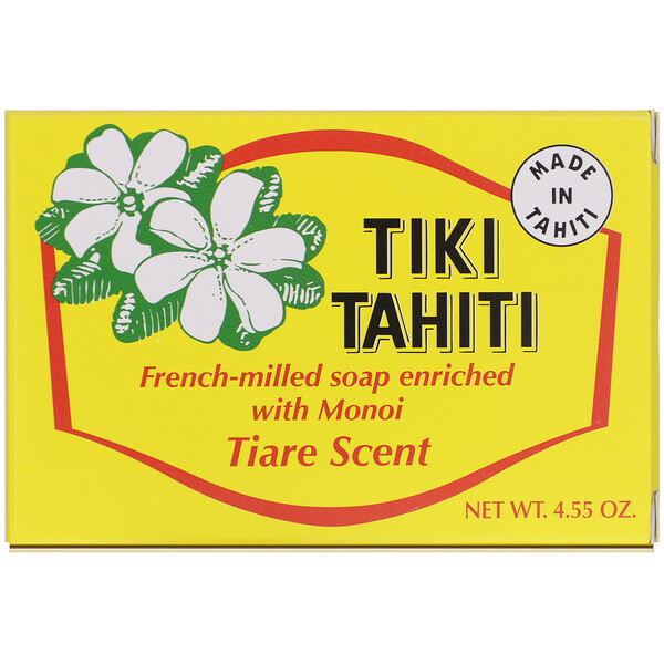 French-Milled Soap Enriched with Monoi, Tiare Scent, 4.55 oz (130 g)