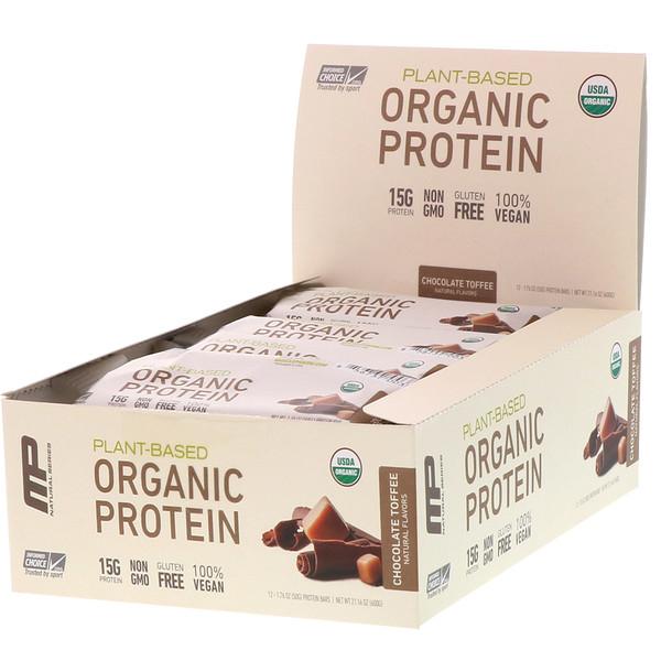 MusclePharm, Органический протеиновый батончик на растительной основе, шоколадный ирис, 12 батончиков, вес каждого 50 г (1,76 унции)