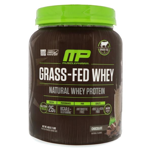 MusclePharm Natural, Сывороточный белок, полученный из молока откормленных травой коров, шоколадный, 1 фунт (455 г) (Discontinued Item)