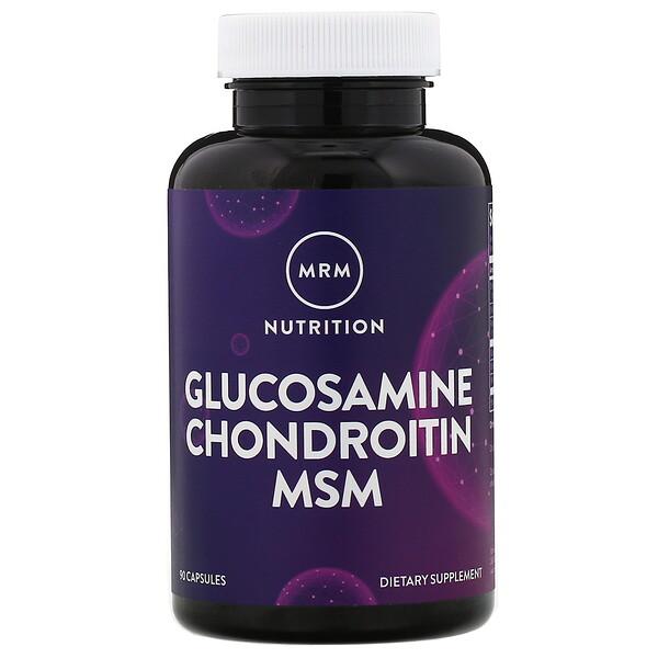 MRM, Nutrition, витамины с глюкозамином и хондроитином Glucosamine Chondroitin MSM, 90 капсул