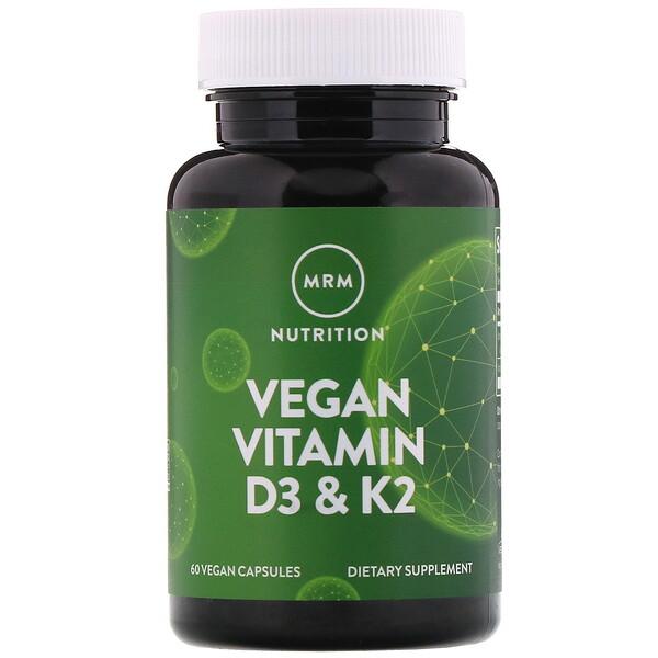 MRM, веганские витаминыD3 и К2, 60растительных капсул