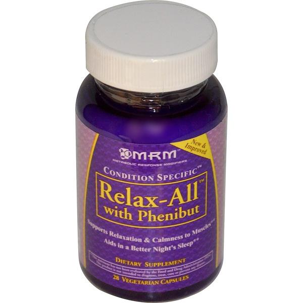 MRM, Relax-All с фенибутом, 28 вегетарианских капсул (Discontinued Item)