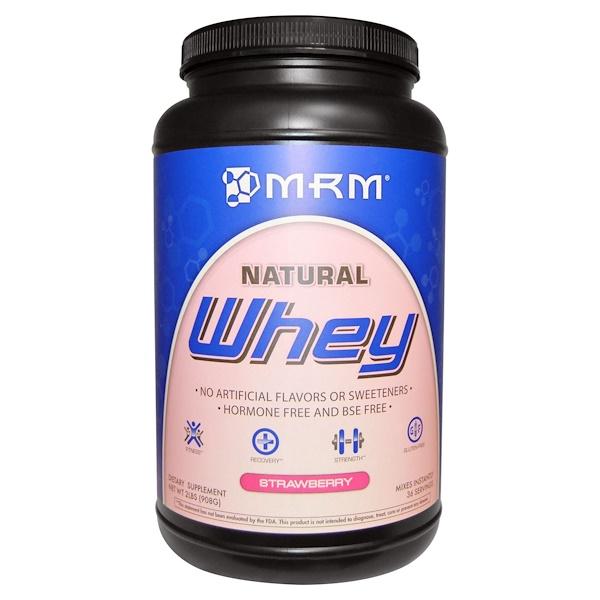 MRM, Натуральный сывороточный протеин, со вкусом клубники, 2 фунта (908 г) (Discontinued Item)