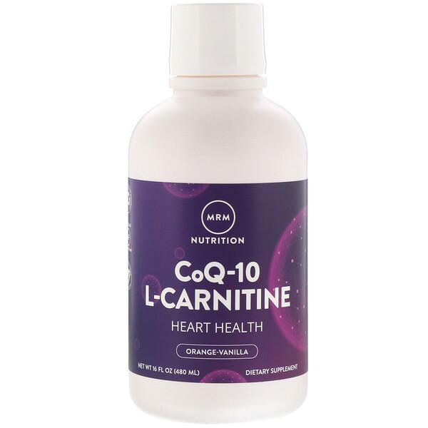 Питание, коэнзимQ-10 L-карнитин, апельсин и ваниль, 480мл (16жидк.унций)