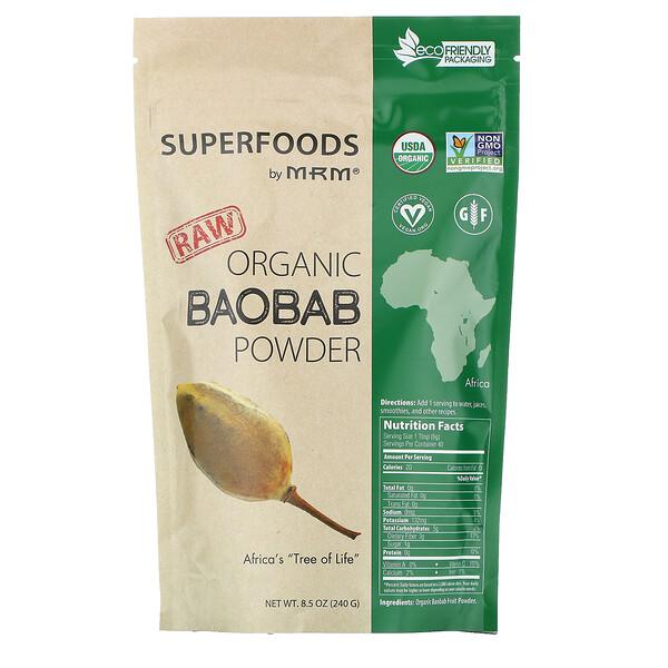 необработанный органический порошок баобаба, 240 г (8,5 унции)
