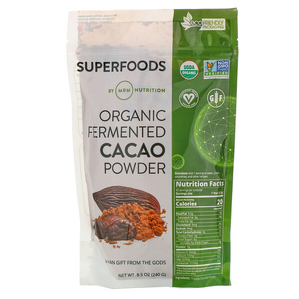 Органический ферментированный какао-порошок, 240г (8,5унции)