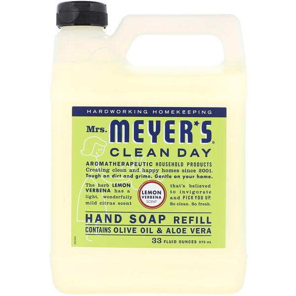 Mrs. Meyers Clean Day, Жидкое мыло для рук в экономичной упаковке с ароматом лимонной вербены, 975 мл (33 жидких унции)