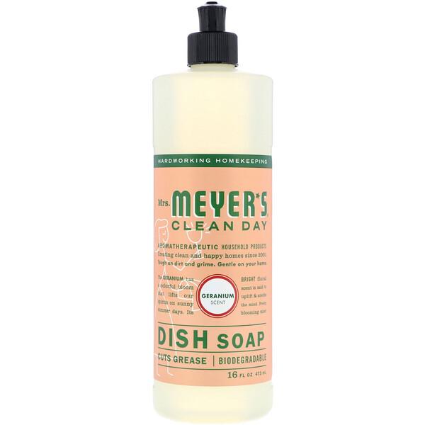 Mrs. Meyers Clean Day, Жидкость для мытья посуды, аромат герани, 473мл (16 жидк.унций)