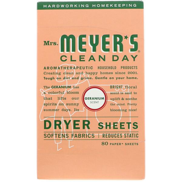 Mrs. Meyers Clean Day, Салфетки для сушильной машины, запах герани 80 щт
