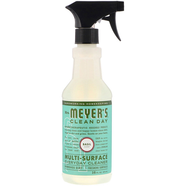 Mrs. Meyers Clean Day, Multi-Surface Everday Cleaner, Basil Scent, 16 fl oz (473 ml)