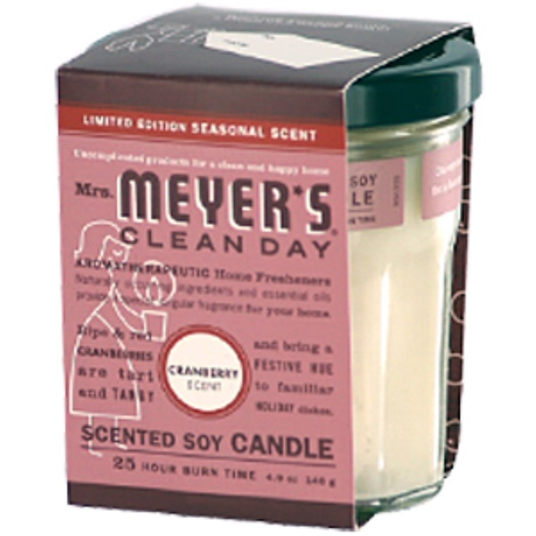 Mrs. Meyers Clean Day, Scented Soy Candle, Cranberry Scent, 4.9 oz (140 g) (Discontinued Item)
