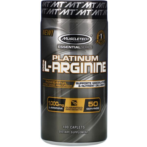 Platinum 100% L-Arginine, 1000мг, 100капсуловидных таблеток