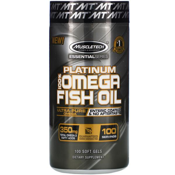 Platinum 100% Omega Fish Oil, Essential (серия), рыбий жир с омега-3 жирными кислотами, 100мягких желейных капсул