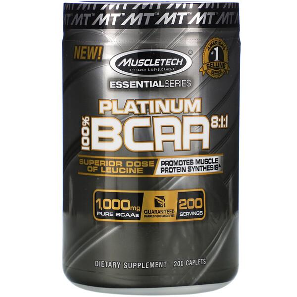 Platinum 100% BCAA 8:1:1, 1000мг, 200капсул