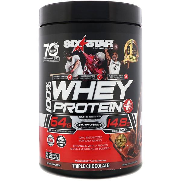 Six Star Pro Nutrition, 100% Whey Protein Plus, элитная серия, «Тройной шоколад», 907г (2фунта)