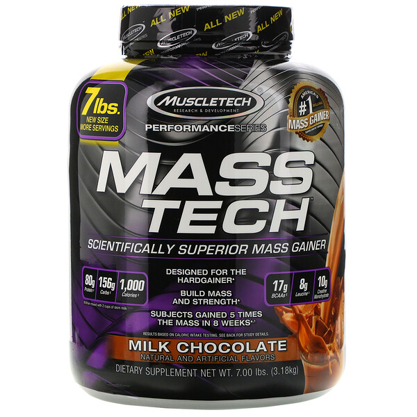 Muscletech, Mass-Tech, превосходный гейнер для набора мышечной массы, протеиновый порошок со вкусом молочного шоколада, 3,18 кг (7 фунтов)