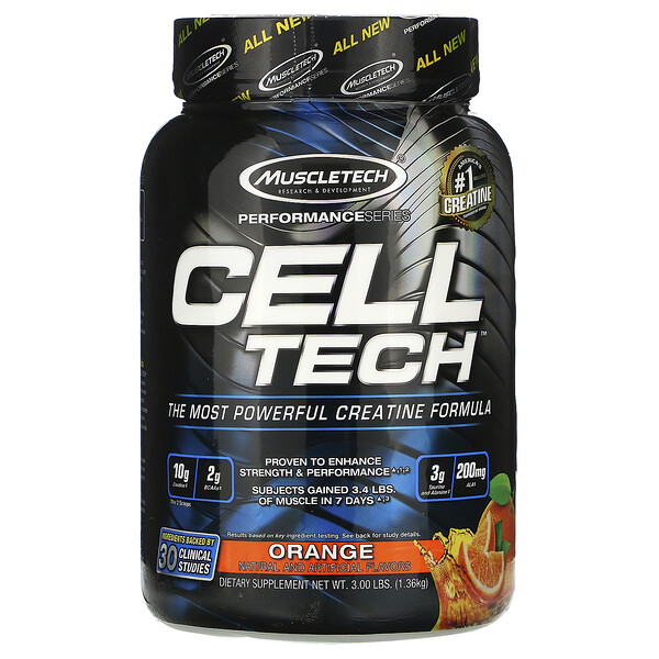 Performance Series, CELL-TECH, The Most Powerful Creatine Formula, Orange, 3.00 lbs (1.36 kg)