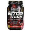 Muscletech, Nitro-Tech, сывороточный изолят + смесь для роста сухой мышечной массы, клубничный вкус, 907г (2фунта)