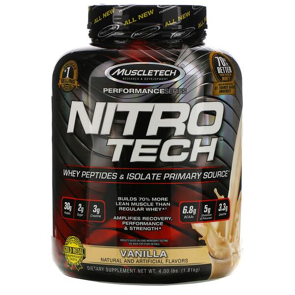 Nitro Tech, основной источник пептидов и изолята сывороточного белка со вкусом ванили, 1,81 кг (4 фунта)