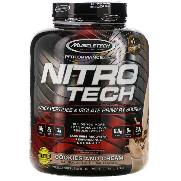 Nitro Tech, сывороточный изолят + смесь для роста сухой мышечной массы, вкус печенья с кремом, 1,80кг (3,97фунта)