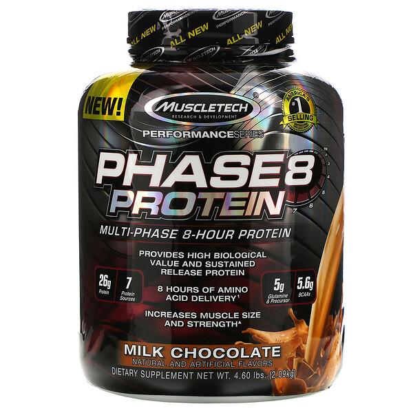 Performance Series, Phase8, многоступенчатый 8-часовой протеин, со вкусом молочного шоколада, 2,09 кг (4 фунта)