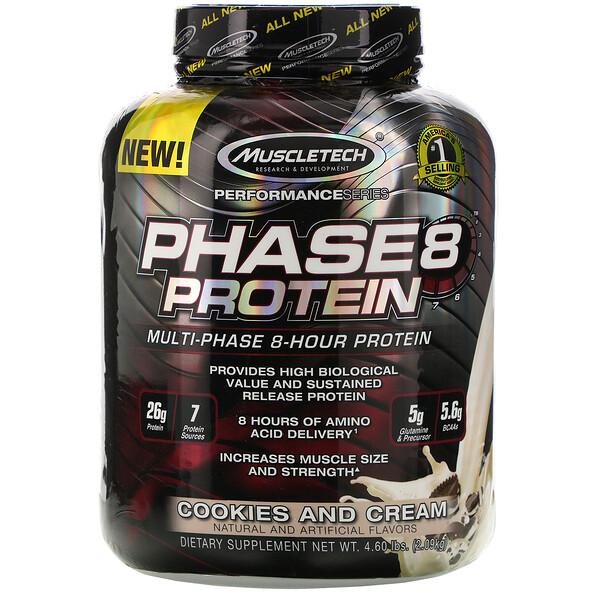 Performance Series, Phase8, многоступенчатый 8-часовой протеин, со вкусом печенья с кремом, 2,09 кг (4,60 фунтов)
