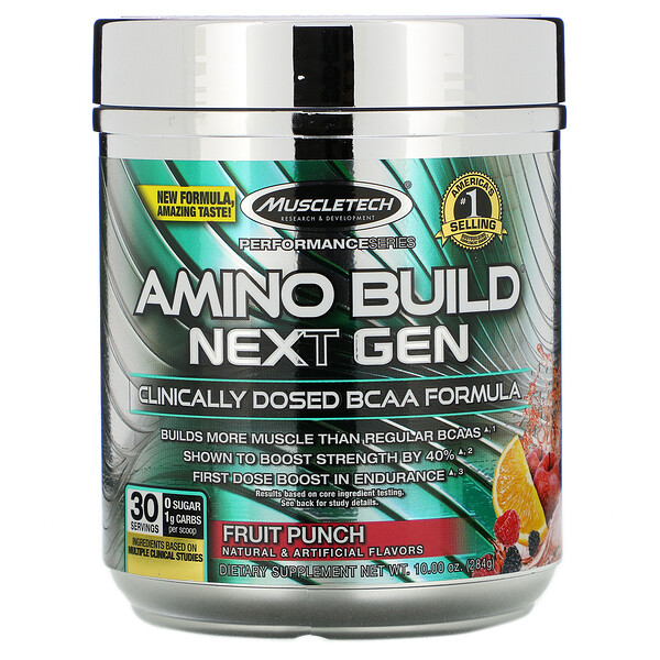 Amino Build, аминокислоты нового поколения с разветвленными цепями, со вкусом фруктового пунша, 284г (10,00унции)
