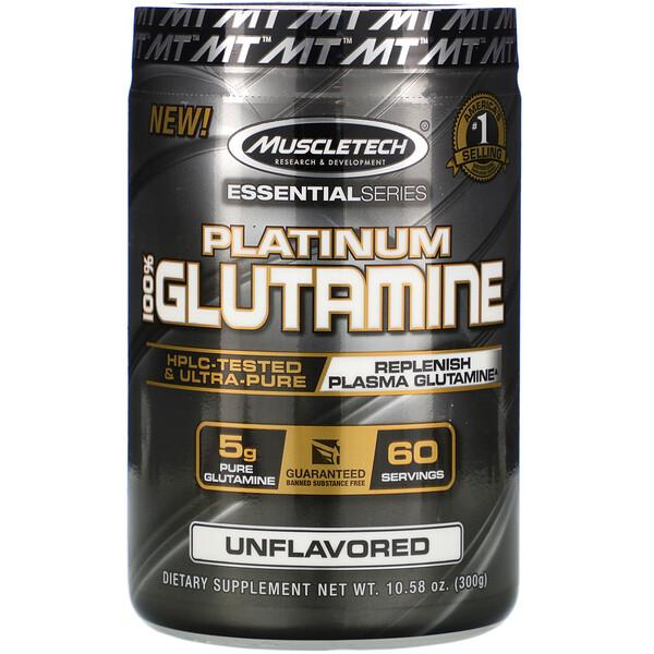 EssentialSeries, Platinum 100%, глютамин, без добавок, 5г, 300г (10,58унции)