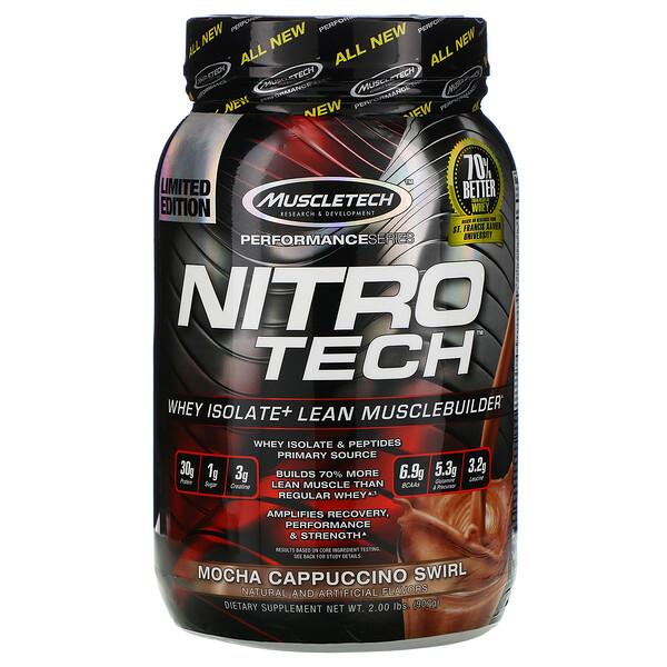 Muscletech, Nitro Tech, сывороточный изолят + рост сухой мышечной массы, вкус мокачино, 907 г (2 фунта) (Discontinued Item)