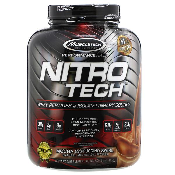 Muscletech, NitroTech, основной источник пептидов и изолятов сывороточного белка, мокачино, 1,81кг (4,00 фунта) (Discontinued Item)