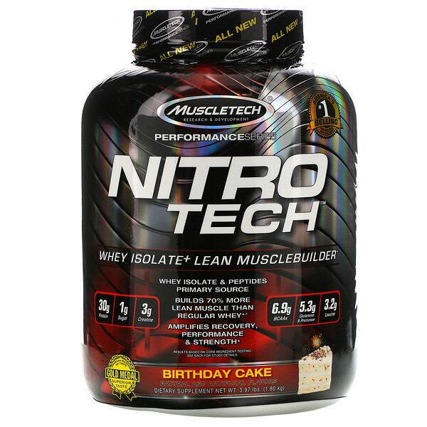 Nitro Tech, сывороточный изолят + рост сухой мышечной массы, вкус именинного торта, 1,80 кг (3,97 фунта)