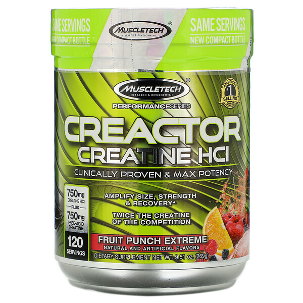 Performance Series, CREACTOR, Creatine HCl Formula, Fruit Punch Extreme, 9.51 oz (269 g)