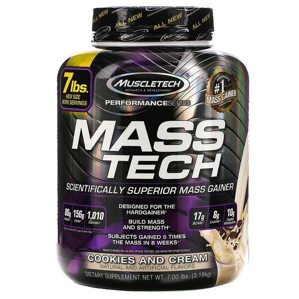 Mass-Tech, превосходный продукт для набора массы, печенье и сливки, 7,00 фунтов (3,18 кг)