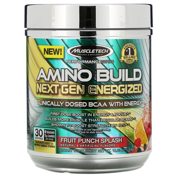 Amino Build Next Gen, аминокислоты нового поколения для повышения энергии, фруктовый пунш, 284г (10,03унции)