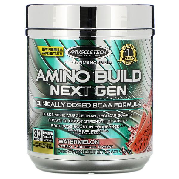 Amino Build Next Gen, аминокислоты нового поколения, арбуз, 281г (9,91унции)