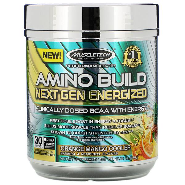 Muscletech, Amino Build Next Gen, аминокислоты нового поколения для повышения энергии, освежающие апельсин и манго, 286г (10,09унции)